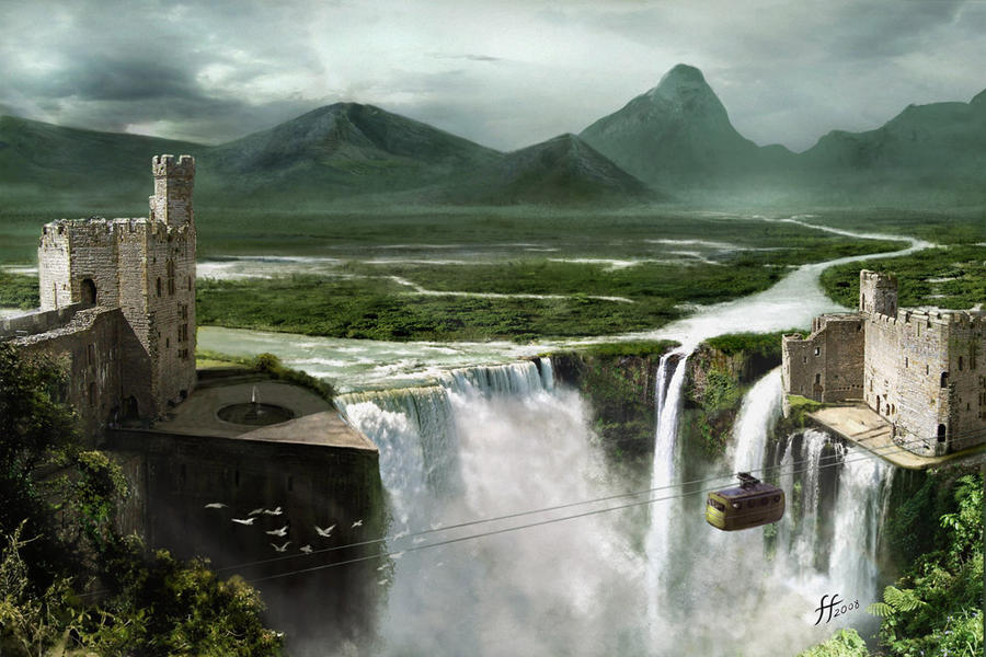 waterfall matte painting