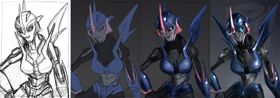 [Pro Art et Fan Art] Artistes à découvrir: Séries Animé Transformers, Films Transformers et non TF - Page 5 Arcee_wip_by_14_bis-d4b3s4g