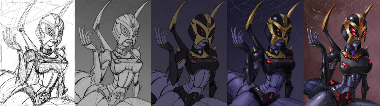 blackarachnia progress paintin by 14-bis