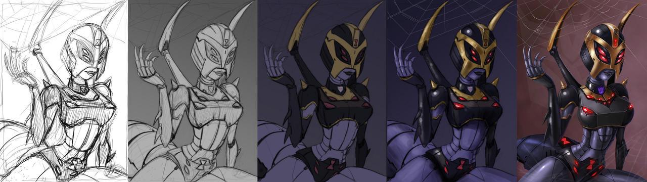 [Pro Art et Fan Art] Artistes à découvrir: Séries Animé Transformers, Films Transformers et non TF - Page 5 Blackarachnia_progress_paintin_by_14_bis-d4bzz13