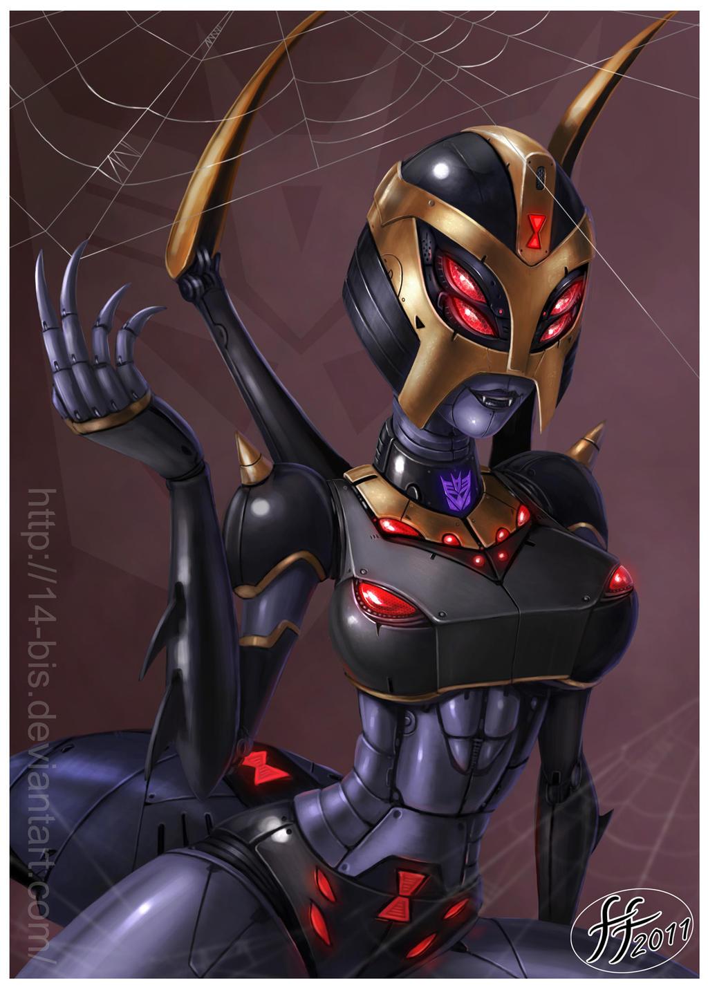 [Pro Art et Fan Art] Artistes à découvrir: Séries Animé Transformers, Films Transformers et non TF - Page 5 Blackarachnia_by_14_bis-d4c8ms1