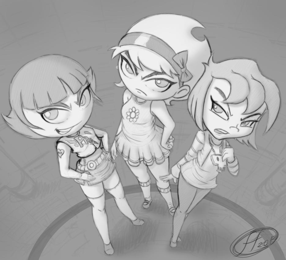 3 Bad Girls sketch 2 by 14-bis