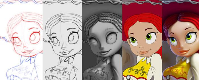 Jessie painting progress