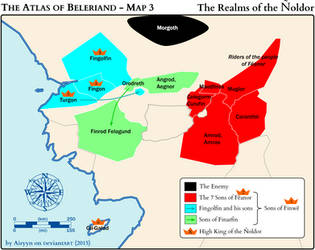 The Atlas of Beleriand - Map 3 by Airyyn