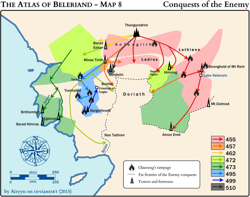 the atlas of beleriand map 8 by airyyn