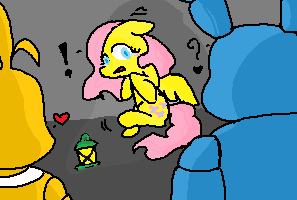 Fluttershy with toy bonnie bon bon and toy chica by cocoatheomega on