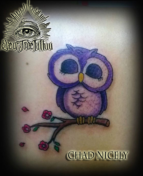 Cute Purple Owl Branch Tattoo by Chad Nicely by ...