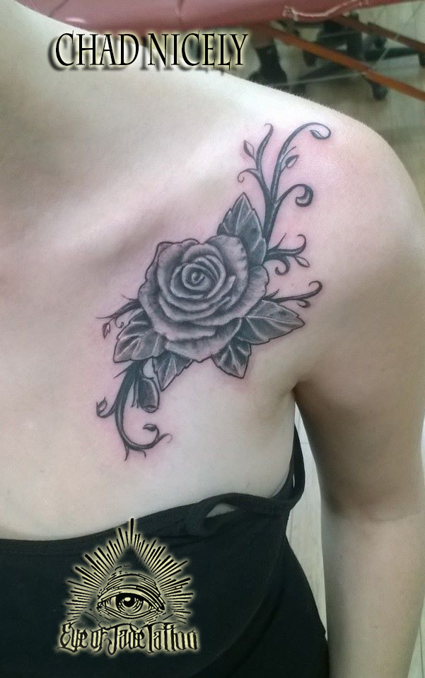 Realistic rose vine tattoo by chad nicely by for Rose and vine tattoo