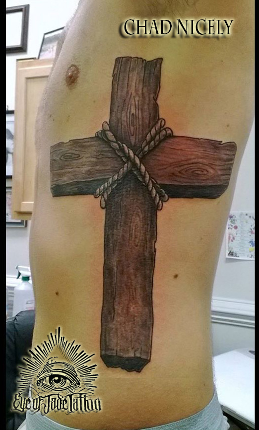 Realistic wood cross rib tattoo by chad nicely by for Wood cross tattoos