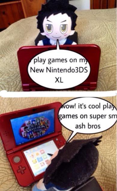 Plush Yamamoto play with new Nintendo3DS XL by Bluedragoncartoon