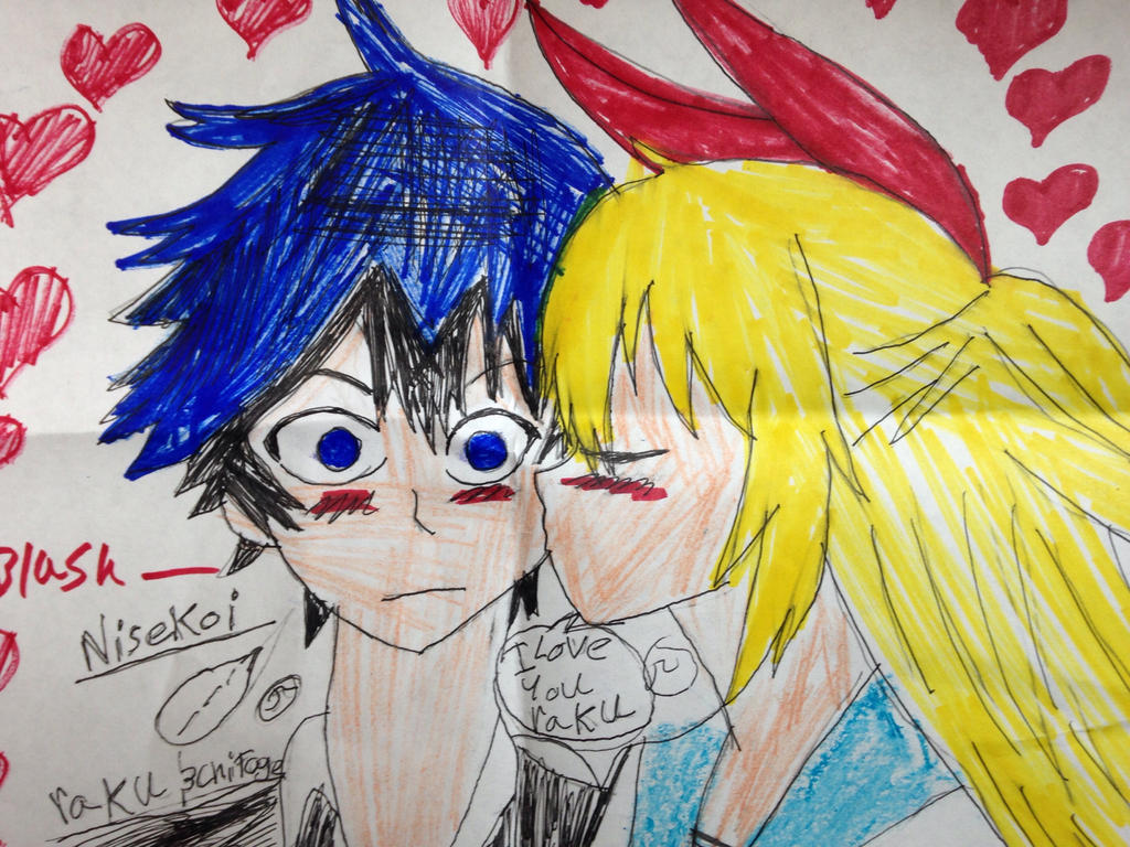 Nisekoi raku and chitoge  by Bluedragoncartoon
