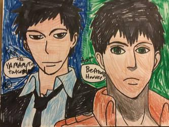 My fav anime boys is tyl Yamamoto and bertholdt by Bluedragoncartoon