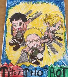 AOT chibi titan trio  by Bluedragoncartoon