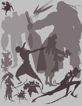 character silhouettes exercise