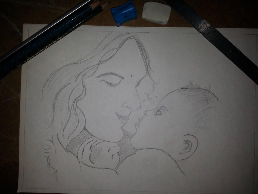 Mother child pencil drawing pencil art sketch by selvantamilmani