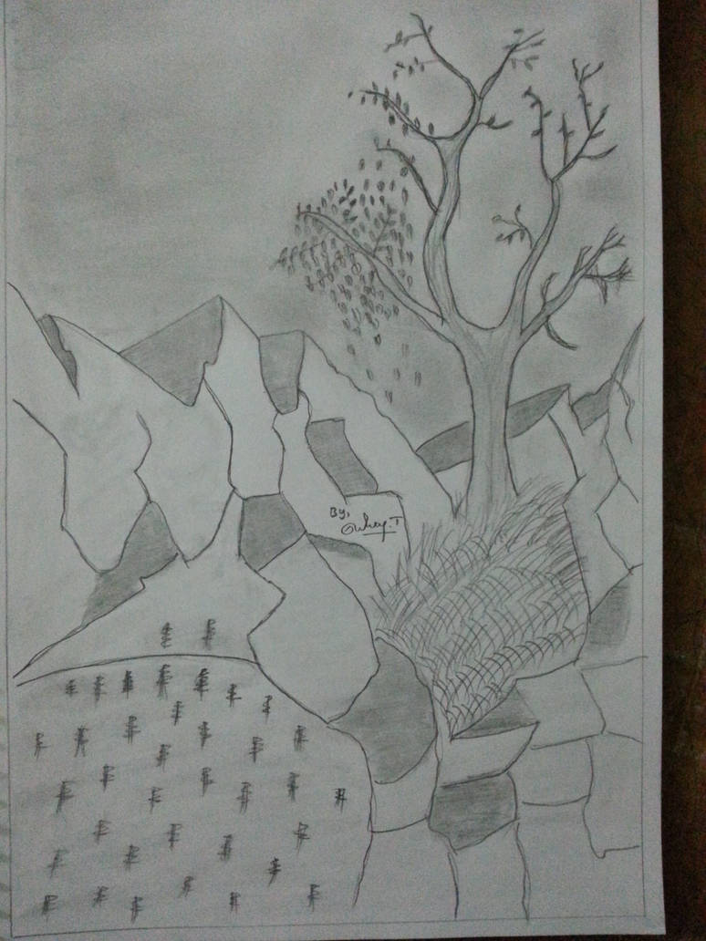 Landscpe pencil drawing nature pencil art sketch by selvantamilmani
