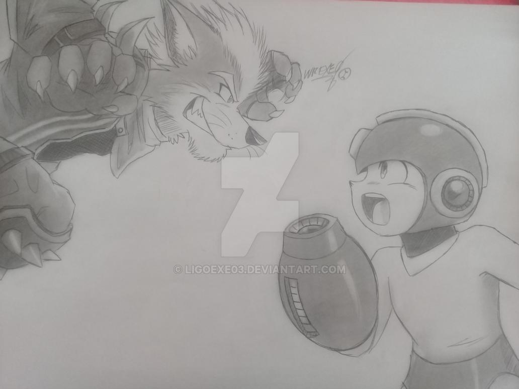 Wolf O'Donnell vs MegaMan  ( SSBU Fan Art ) by Ligoexe03