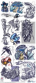 Sketchdump - Adrex and Aliens (Plus Mermay)