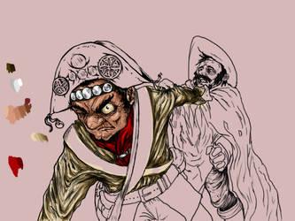 Cangaceiro beating a Mexican