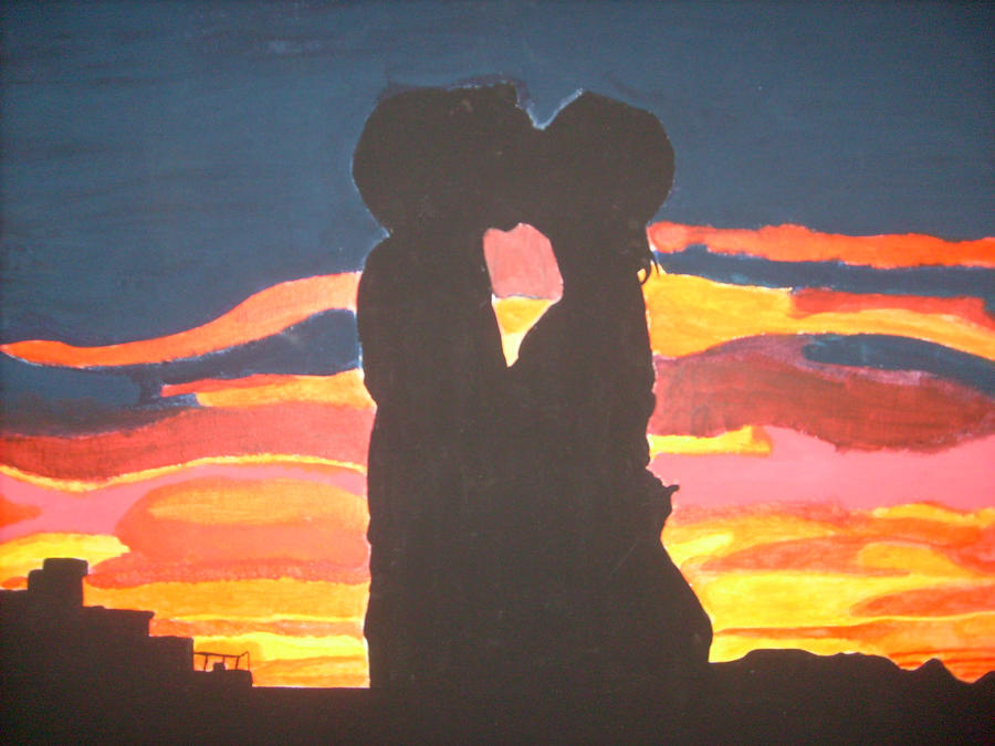 Couple Silhouette Sunset Painting Couple Silhouette at Sunset by