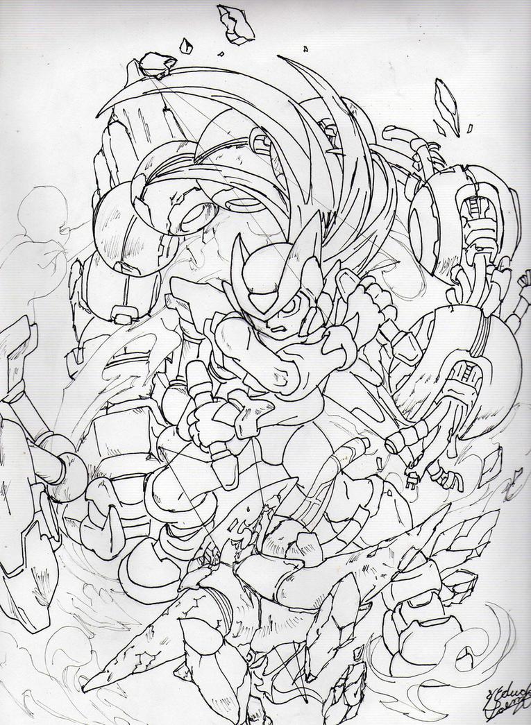 Line Art Zero : Megaman zero lineart by shadow umbreon on deviantart
