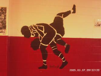 Wrestling Room Mural by notyoravrigchick