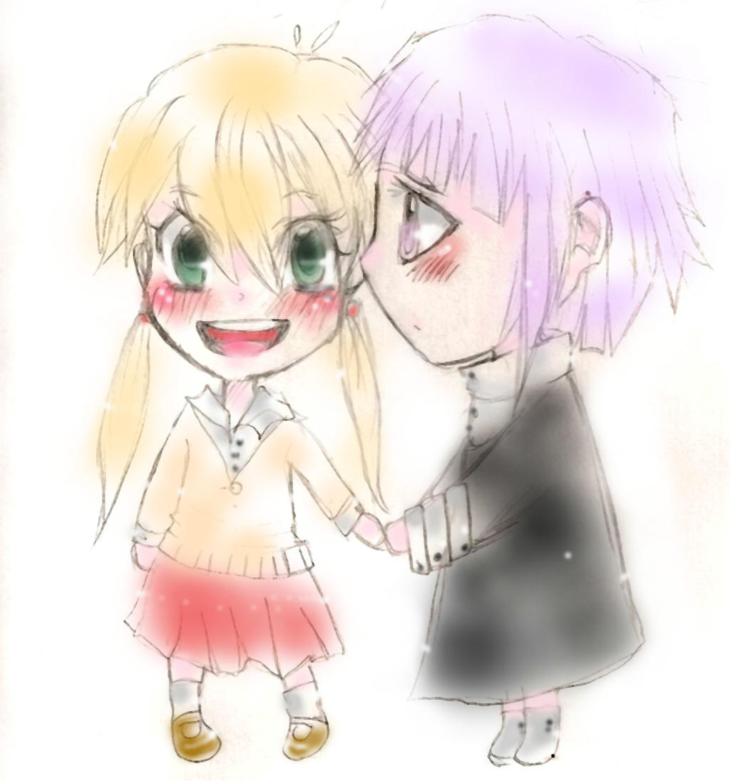 ART TRADE for dagmarithesly:chibi chrona X maka by xMADMATEx