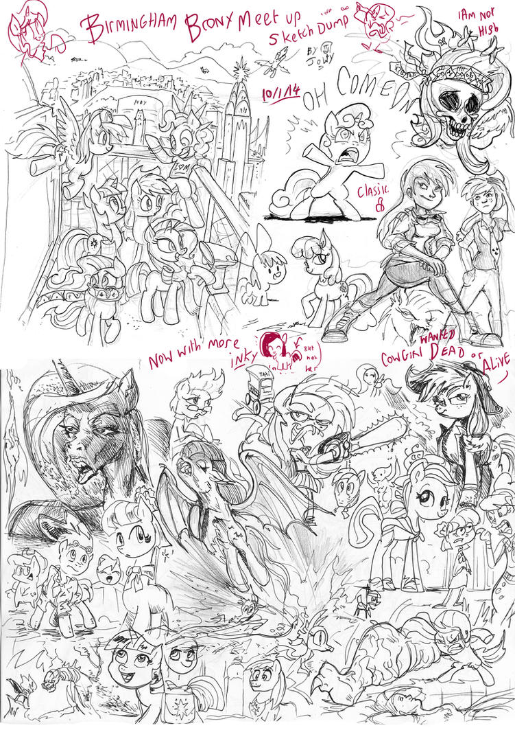 Brummie Brony meet pony sketch up roundup 9 by Jowybean