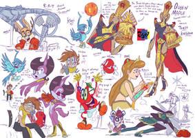 Jowyverse character doodles 2 by Jowybean