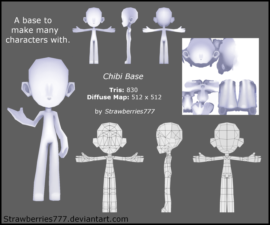 Blender Character Modeling Template : D chibi base by crysenley on deviantart