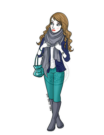 Girl in scarf by aurangelica
