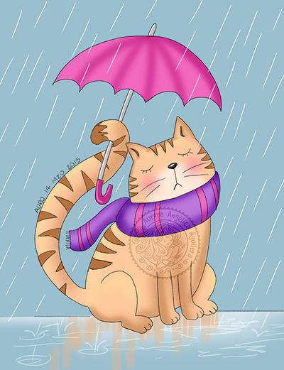 Cat in the rain by aurangelica