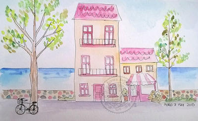 City in watercolor by aurangelica