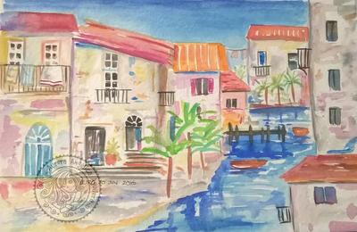 Watercolor town