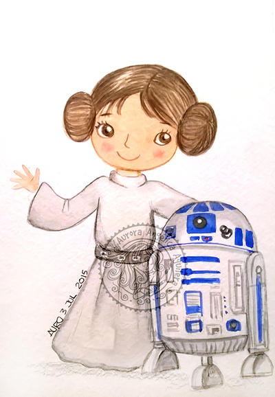 Princess Leia and R2 _ Starwars by aurangelica
