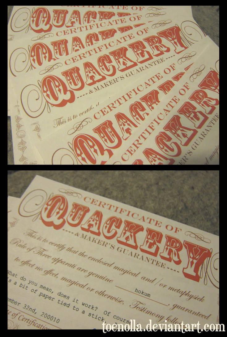 Certificates of Quackery