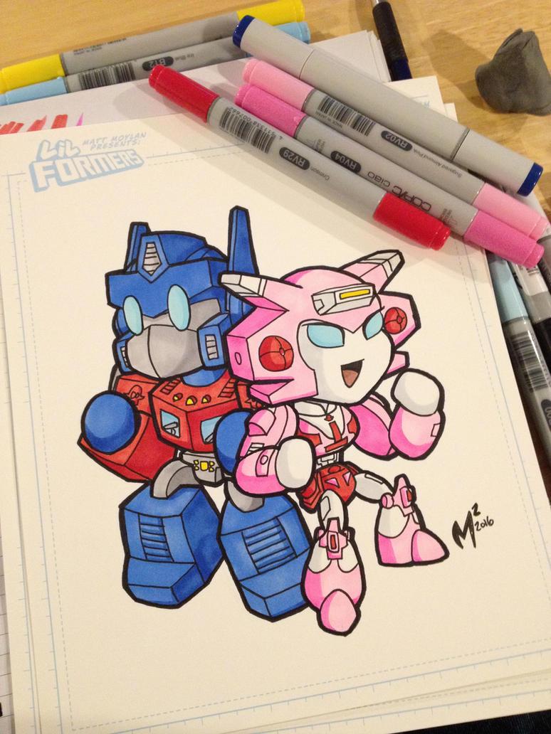 Optimus Prime + Elita-1 sketch by MattMoylan