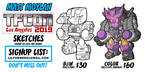 TFcon 2019 Los Angeles sketches list by MattMoylan