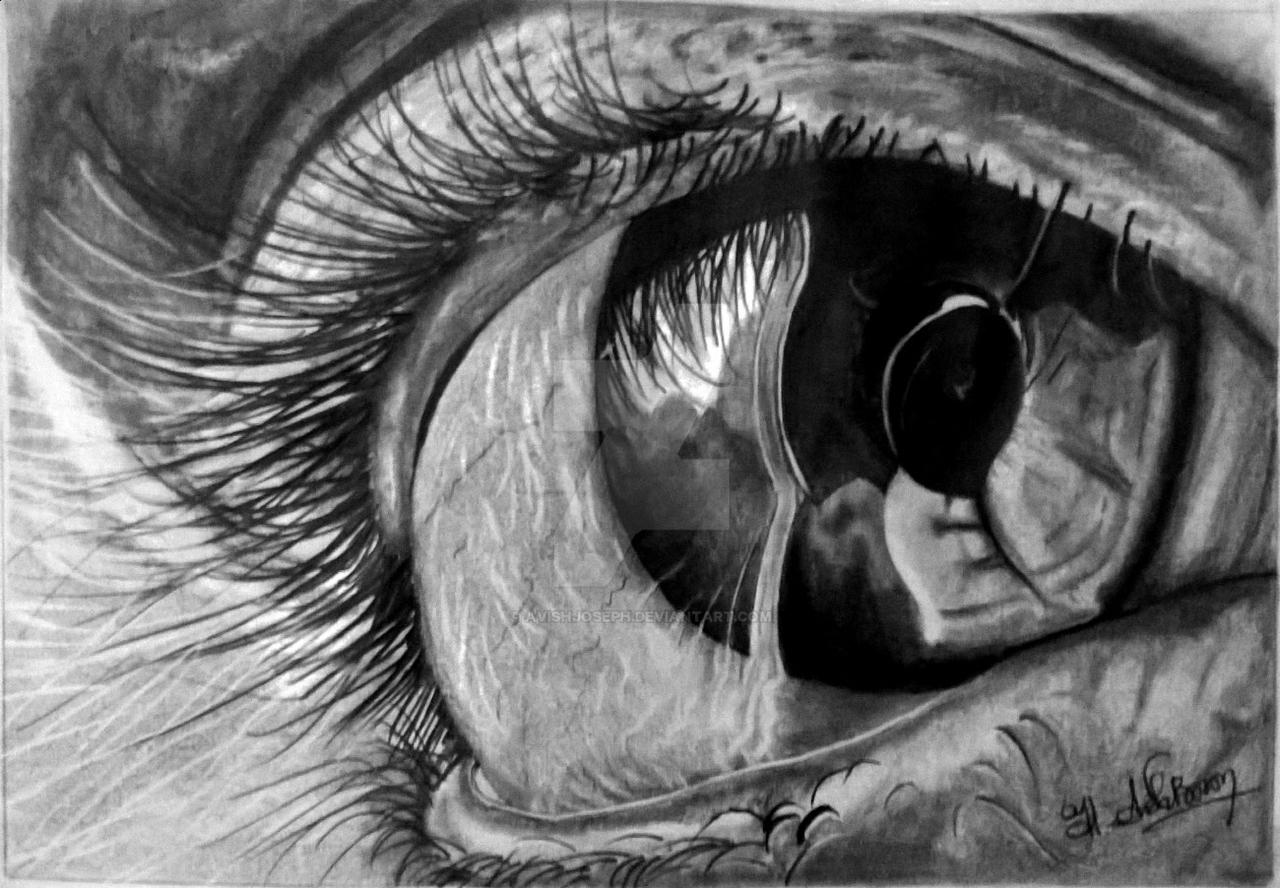 Man crying eyes drawing