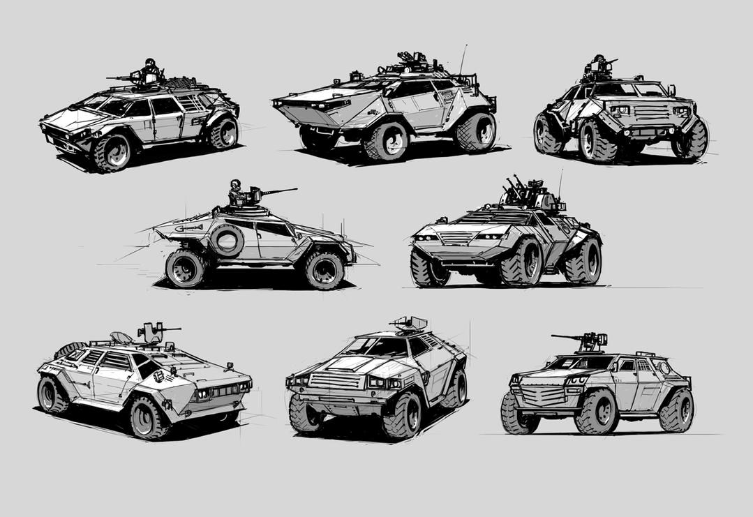 Light armored vehicles sketches by alex-ichim