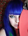 Hiding Scene Blue Hair Girl