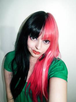Split Black Pink Hair