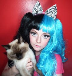 Stock Dolly eye makeup and kawaii cat