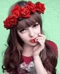 Red Flower Power Alternative Girl stock image