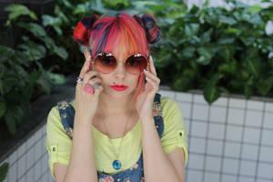 Colorful  girl and glasses big stock image