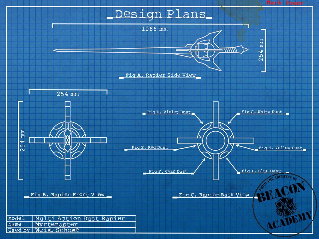 Http Crypticspider Deviantart Com Art Rwby Myrtenaster Blueprints 418151188