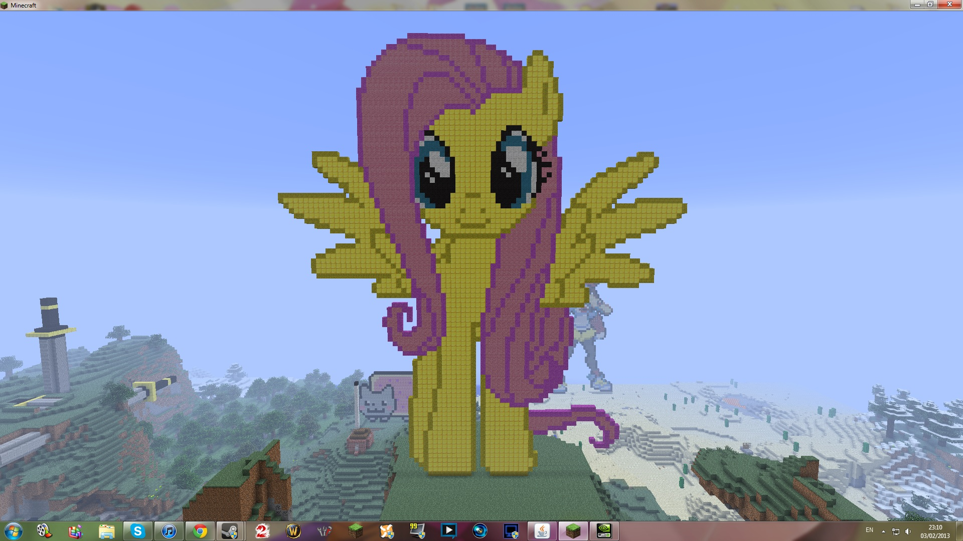 fluttershy minecraft pixel art by 19tom448 on deviantart