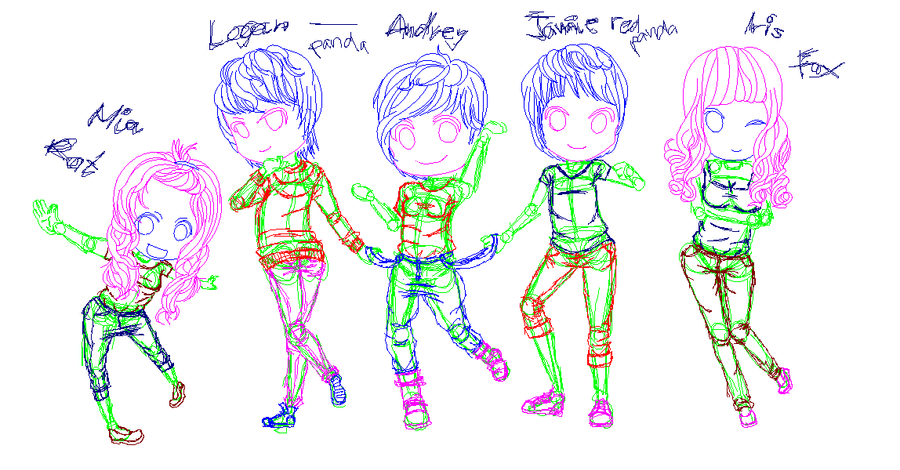 Audrey and gang WIP by MotorolaL