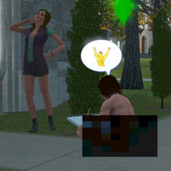 The Sims 3 - Sketching My Friend Nude by Chi-ChiTheCat