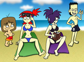 Frankie and Lucy at the Beach by shinragod